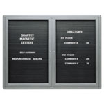 Quartet 2 Door Enclosed Magnetic Message Directory, 48w x 36h, Black, Graphite Frame