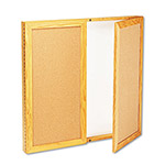 Quartet Slim Line Conference Cabinet with 2 Cork Doors & Dry Erase Board, 36w x 36h, Oak