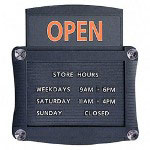 Quartet Open/Closed Sign with Double Side Magnetic Message Board, Black, 15 1/2w x 14 1/4h