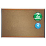 Quartet® Colored Cork Bulletin Board, 36 x 24, Graphite Cork/Light Cherry Frame