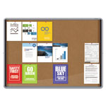 Quartet Enclosed Indoor Cork Bulletin Board w/Sliding Glass Doors, 56 x 39, Silver Frame