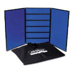 Quartet Slotwall 3-Panel Tabletop Display System W/Pvc Frame, Blue Fabric