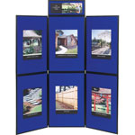 Quartet Showit! Six-Panel Display System, 72W x 72H, Reversible Blue/Gray