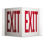 Quartet Projecting 3-Way Sign, EXIT, 6 x 9, Red/White