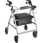 Drive Medical Four Wheel Rollator, Silver