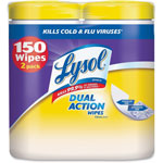 Lysol Disinfecting Wipes, Dual Action, 7 x 8, Citrus, 75/Canister, 2/Pack, 3PK/CT