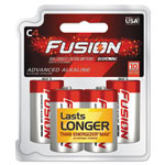 Rayovac Fusion Performance Alkaline Batteries, C, 4/Pk