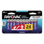 Rayovac Alkaline Batteries, AA, Peggable Large Card, 24/Pk