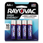Rayovac High Energy Premium Alkaline Battery, AA, 4/Pack