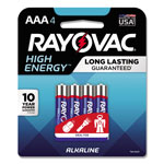 Rayovac High Energy Premium Alkaline Battery, AAA, 4/Pack