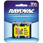 Rayovac Alkaline Batteries, 9V, 2/Pack