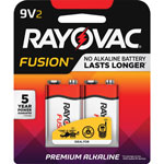 Rayovac Fusion Performance Alkaline Batteries, 9V, 2/Pk