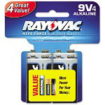 Rayovac Ultra Pro Alkaline Batteries, 9V, 4/Pack