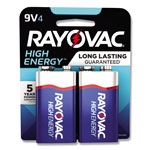 Rayovac High Energy Premium Alkaline Battery, 9V, 4/Pack