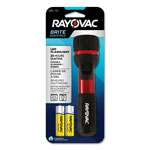 Rayovac Flashlight, Rubber & Aluminum, 3 V, LED, Red/Black, 2 AA