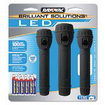 Rayovac Brilliant Solutions LED Combo Pack, 3 Flashlights, Assorted Colors