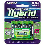 Rayovac Hybrid Pre-Charged Rechargeable Batteries, AA, 4/Pack