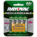 Rayovac Rechargeable NiMH Batteries, AA, 1400 mA-h, 4/Pack
