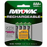 Rayovac Rechargeable NiMH Batteries, AAA, 800mA-h, 4/Pack