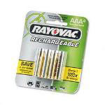Rayovac Ray-O-Vac NM7244 NiMH Rechargable Batteries, 800mAH, AAA, 4/Pack