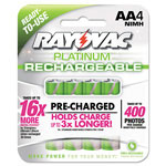 Rayovac Platinum Rechargeable NiMH Batteries, AA, 4 per Pack