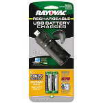 Rayovac USB Battery Charger w/2 AA NiMH Batteries