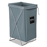Royal Basket Trucks Hamper, 30 gal, Steel/Vinyl, Gray, 15 x 16 x 30