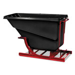 Rubbermaid Self-Dumping Hopper, 1/2 Cubic Yard, 750 lb Capacity, Black/Red
