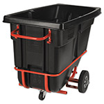Rubbermaid Forkliftable Rotomolded Tilt Truck, 1/2 Cu. Yd, Black, 28 x 60-1/2 x 38-5/8