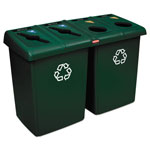 Rubbermaid Glutton Recycling Station, Four-Stream, 92 Gal, Green