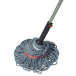 "Rubbermaid Ratchet Twist Mop, Self-Wringing, Blended Yarn Head, Blue, 56"" Handle"