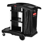 "Rubbermaid Executive Cleaning Cart, 21-3/4"" x 49-3/4"" x 38"", BK"