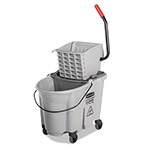 Rubbermaid Executive WaveBrake Side-Press Mop Bucket, Gray 35 Quart