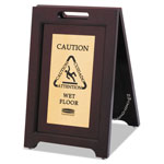 Rubbermaid Executive 2-Sided Multi-Lingual Caution Sign, Brown/Brass, 15W x 23-1/2H