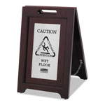 Rubbermaid Executive 2-Sided Multi-Lingual Caution Sign, Brown/Stainless Steel,15Wx23.5H