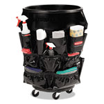 Rubbermaid Brute Caddy Bag, 12 Pockets, Black, 6/Carton