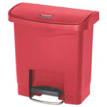 Rubbermaid Slim Jim Resin Step-On Container, Front Step Style, 4 gal, Red