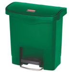 Rubbermaid Slim Jim Resin Step-On Container, Front Step Style, 4 gal, Green
