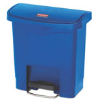 Rubbermaid Slim Jim Resin Step-On Container, Front Step Style, 4 gal, Blue
