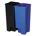 Rubbermaid Step-On Rigid Dual Liner For Stainless End Step, Plastic, 8 gal, Black/Blue