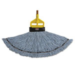 Rubbermaid Maximizer Blended Mop Heads, Medium, Blue, 6/Carton