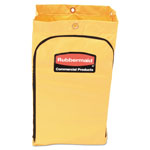 Rubbermaid Zippered Vinyl Cleaning Cart Bag, 21gal, 17-1/4w x 10-1/2d x 30-1/2h, Yellow