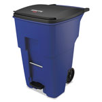 Rubbermaid Brute Step-On Rollouts, Square, 95 gal, Blue