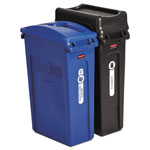 Rubbermaid Slim Jim Recycling Container, Rectangular, 23 gal, Black/Blue