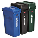 Rubbermaid Slim Jim Recycling Container, Rectangular, 23 gal, Black/Blue/Green