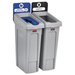 Rubbermaid Slim Jim Recycling Station Kit, 46 gal, 2-Stream Landfill/Mixed Recycling