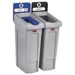 Rubbermaid Slim Jim Recycling Station Kit, 46 gal, 2-Stream Landfill/Paper