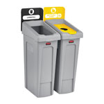Rubbermaid Slim Jim Recycling Station Kit, 46 gal, 2-Stream Landfill/Bottles/Cans