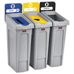 Rubbermaid Slim Jim Recycling Station Kit, 69 gal, 3-Stream Landfill/Paper/Bottles/Cans