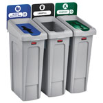 Rubbermaid Slim Jim Recycling Station Kit, 69 gal, 3-Stream Landfill/Mixed Recycling